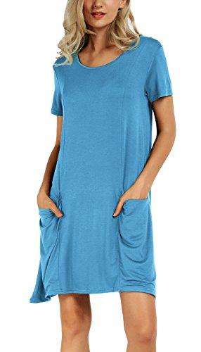 Damen Lose Taschen Stretch Shirt Kleider Seeblau