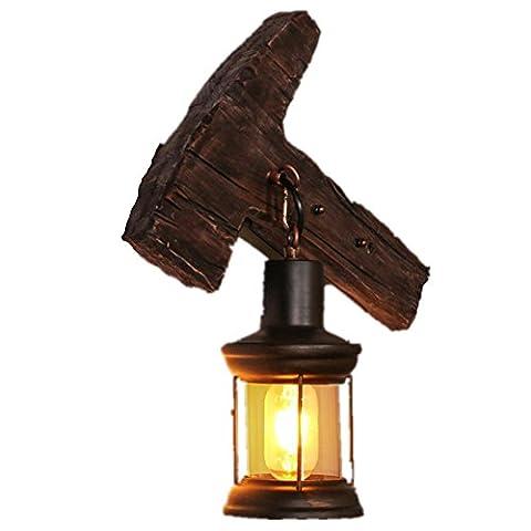 BJVB Lron cuisson peinture billes bouton mur lampe rétro industrielle vent créatif personnalité vêtements Boutique café réseau Bar Bar bois massif Eclairage 330 * 100 * 400 (mm)