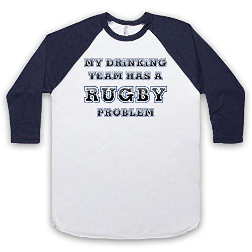 My Drinking Team Has A Rugby Problem Funny Rugby Slogan 3/4 Hulse Retro Baseball T-Shirt Weis & Ultramarinblau