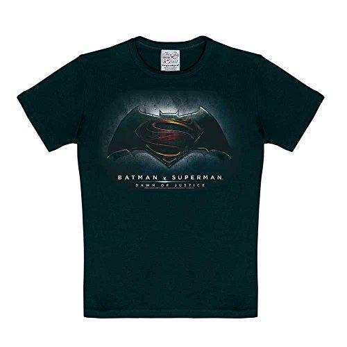 Logoshirt DC Comics - Superhelden - Batman v Superman - Dawn of Justice T-Shirt Kinder Jungen - Schwarz - Lizenziertes Originalsdesign, Größe 170/176, 15-16 Jahre