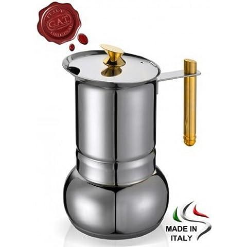 GAT amore–Stove Top caffè espresso maker–placcato oro in acciaio inox con manico e pomello, in varie misure, Acciaio inossidabile, Stainless Steel, 4 to 2 Cups