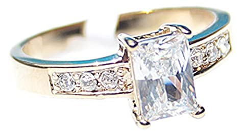 Free Engraving Of Your Choice! Ah! Jewellery Sensationally Elegant 1.80ct Emerald Cut Lab Diamond Ring. Total Centre Stone 7.5mm and Total Ring Weight 1.8gr. 24k Gold Electroplated. Total Weight of 3.1gr. Total Width of 8mm. Excellent, Outstanding