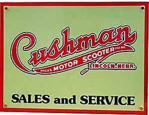 Cushman Motor Scooter Porzellan auf Stahl Zeichen, reduziert zu klar (Cushman Motor)