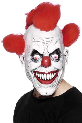 (Smiffys Herren Grusel Clown Maske mit angebrachtem Haar, One Size, Rot und Weiß, 26385)