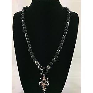 2in1 Halskette Y-Kette Rosenkranz BLACK Lava + Onyx, Herren Schmuck Männer schwarz mit Anhänger, Perlenkette Bikerschmuck Rocker Perlen K_73