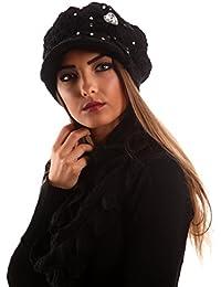 Damen Strickmütze Schirmmütze Strass Schal