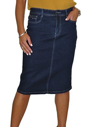 ICE Stretch Jeans Rock, Indigo Blau (38) -2