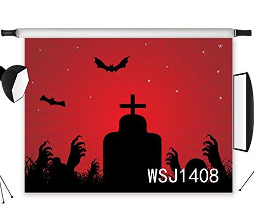 Halloween Party Hintergrund,Fledermaus-Friedhof Hände auf Dem Boden 2.1x1.5m Fotografie Hintergrund für Foto Hintergründe Dekorationen Studio Booth Requisiten WSJ1408