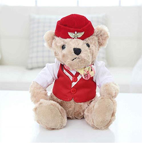 NOWPST Niedlicher Pilot Teddybär Plüschtier Bär Puppe Kuscheltier Spielzeug Höhe 28Cm -