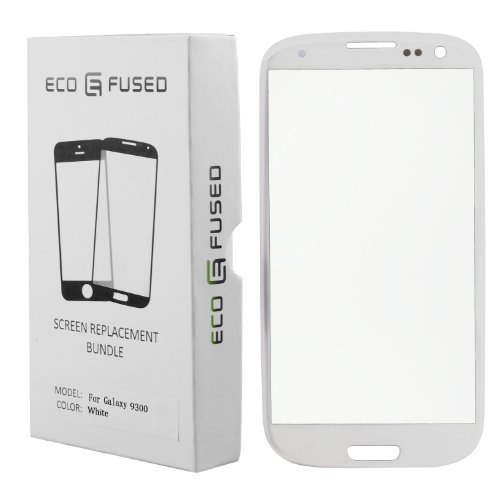 Kit Sostituzione Schermo per Samsung Galaxy S3 include 1 Schermo di Ricambio per Galaxy S3 9300 / 1 Paio di Pinzette / 1 Rotolo di Nastro Adesivo da 2mm / 1 Kit Attrezzi / 1 Panno per pulire in microfibra ECO-FUSED (Bianco)