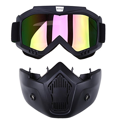 POSSBAY Motorrad Schutzbrille winddicht Sport Wind Staubschutz Brille + abnehmbar Gesichtsmaske mit Anti Rutsch Band für Outdoor Fahrrad Dirtbike Motocross Off-Road Goggle
