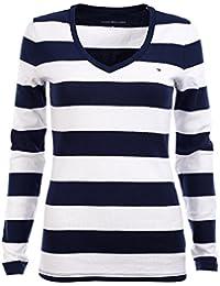 Tommy Hilfiger Women's Wide Stripes Long Sleeve V-Neck T-Shirt