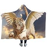 DOTBUY Decke Mit Kapuze Kuscheldecke, Plüschdecke Pelzdecke Decken mit Hoodie 3D Mythos Tiger Print Design für Erwachsene Kind Couch Sofa oder Bett Couchdecke Mikrofaser (200 x 150cm, C)