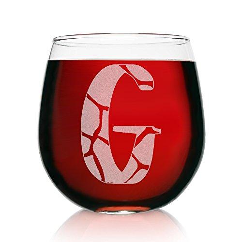 Monogramm Gravur ohne Stiel Wein glass-giraffe Print G-Monogram