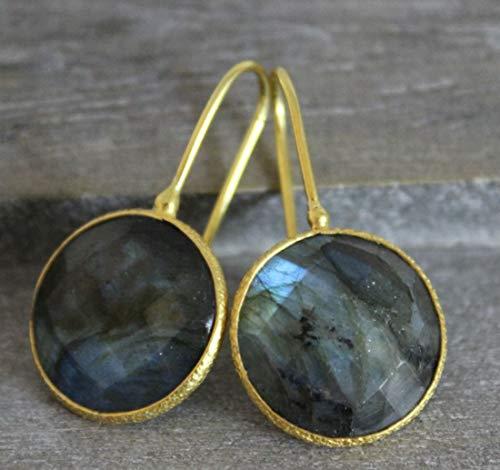 Labradorit Edelstein Runde Form vergoldet Sterling Silber Ohrringe Ohrhaken