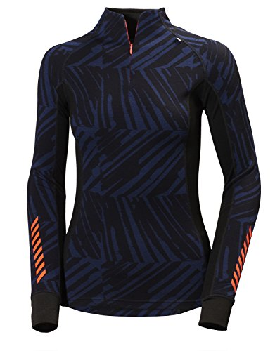 Helly Hansen Women's W Hh Warm Freeze 1/2 Zip Technical Base Layer - Blue/Evening Blue Print, Large