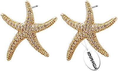 noumanda Sweet Estrella de mar Pendientes, estrella de oro pendientes para mujeres bisutería de moda casual mujeres accesorios