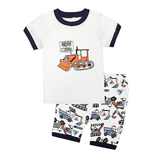 Bmeigo Kind Jungen Pyjama Sets Mädchen Nachtwäsche Kurzarm Pjs 2 Stück Set Kleidung Top Shirt & Hosen Kleinkind Baumwoll Outfits Alter 2-7 Jahre - Baumwolle Zwei Stück Pyjama Set