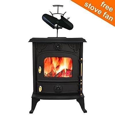 Lincsfire Cast Iron Woodburner Stove Saxilby JA013 6.5KW Multifuel Woodburning Log Burning Fireplace with Free 2 Blade Stove Fan