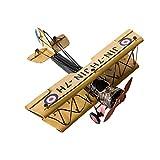Abenily Sehr dekorativ Vintage Handwerk Metall Flugzeug Modell Desktop Doppeldecker Dekoration Sammlung von 25 x 30 x 15 cm, blau (Farbe : Khaki)