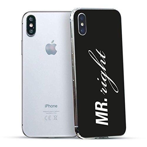 finoo   Iphone X Hard Case Handy-Hülle mit Motiv   dünne stoßfeste Schutz-Cover Tasche in Premium Qualität   Premium Case für Dein Smartphone  Kaugummi Pink Mr Right Black