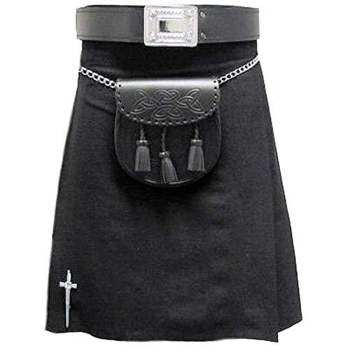 Tart/án negro liso Kilt escoc/és formal para hombre 96 cm 0,3 kg 4,5 m Tartanista UK38