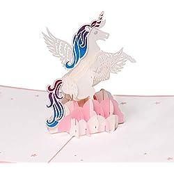 Tarjetas de felicitación con diseño de unicornio 3D, tarjeta de cumpleaños, tarjeta de aniversario, tarjeta de graduación, tarjeta de boda, tarjeta de día de los niños, tarjeta de Navidad