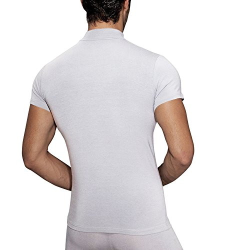 Doreanse Herren Shirt Halbkragen T-Shirt Sportshirt Mens Muscle Fit T-Shirt High-Neck Weiß