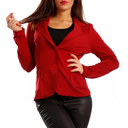 Damen Blazer Baumwolle Vintage Sweatblazer Kurzjacke, Farbe:Rot;Größe:36 (Ein-knopf Vintage Blazer)