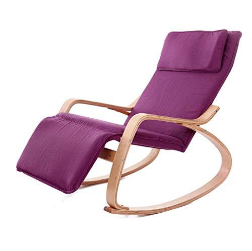 XGHW Chaise berçante de Jardin Balcon Chaise Longue en Bois de Coton Tissu Coussin Inclinable Adulte Lit Nap Lit inclinable Couleur en Option, 120 * 66 * 87 cm (Couleur : Purple)