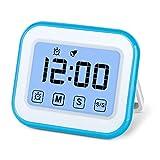 MOSUO digitale keuken timer magnetisch, kookwekker keuken touchscreen met stopwatch, timer eierwekker/keukenklok/wekker, digitale klok LED-display, 12/24h modus, blauw wit