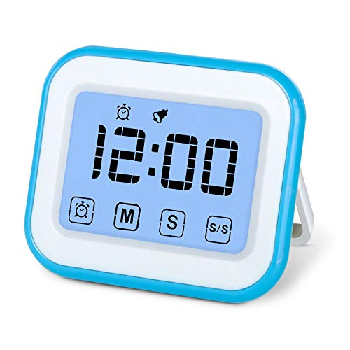 MOSUO Timer da Cucina Touch-Screen, Magnetico Timer Digitale/Clock/Sveglia Digitale con Cronometro,...