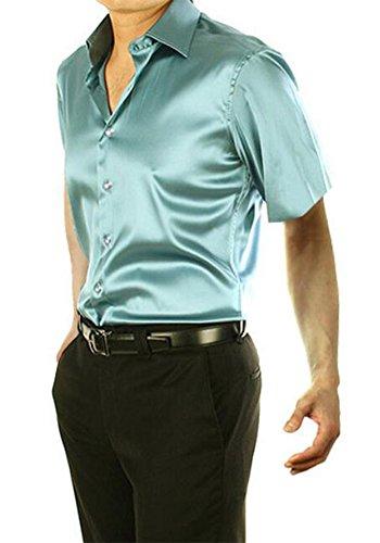 dooxiundi männer fit einfarbig tanz ball kurzärmelige hemd (XL, hellgrün.) (In Ball Herren-kleid-hose Der)