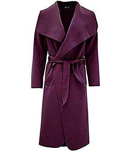 Zara Fashion- Frauen-langer Hülsen-Wasserfall-Kap-italienischer umgeschnallter Mantel Purple