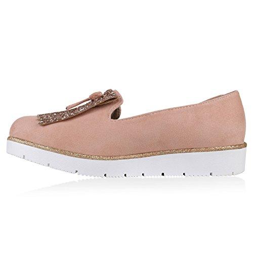 Damen Lack Slipper Loafers Metallic Quasten Schuhe Profilsohle Rosa Schleife Fransen