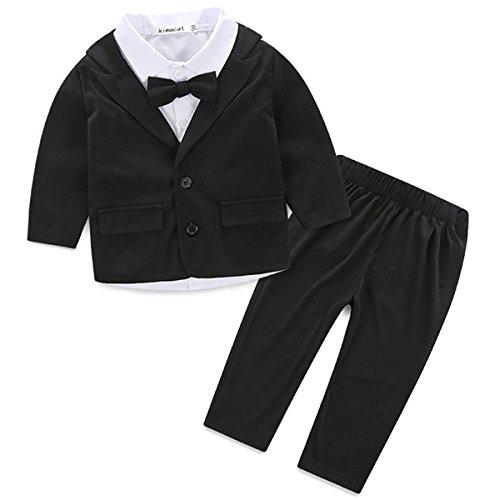 3 stücke Neugeborenen Kleinkind Baby Jungen Outfit Kleidung Anzug mit Krawatte Hochzeit Kostüme Sets Größe 0-24 Monat (90cm:12-18m)