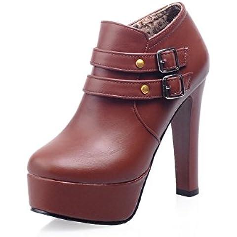 otoñales y el invierno muy tacones/Pesada de plataforma con cabeza redonda y botas desnuda/ zapatos salvajes de hebillas de cinturón