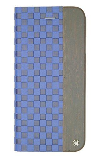 Hard Shell Schutzhülle (Uunique Mode Holz Checker geprägt Folio Hard Shell Schutzhülle für iPhone 6/6S Plus-Blau)