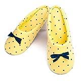 TWINS Fashion « Florence » schöne & süße Damen-Hausschuhe I Ballerinas I Pantoffeln I Slippers - Plüsch Baumwolle rutschfest - diverse Farben (36/37, Gelb)