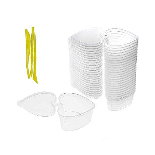 SIMUER Herzform Schleim Behälter, 24Pack Slime Container Bead Aufbewahrungsbehalter Box mit Deckel