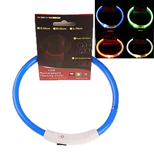 Yhjmd LED Leuchthalsband Hunde Halsband,Einstellbare Hundehalsband Art der Gesamtbeleuchtung,USB Wiederaufladbar,atmungsaktive Haustier Sicherheit Kragen für Hunde und Katzen,3 Modus,Blue,30CM (Arten Der Katze Kostüm)