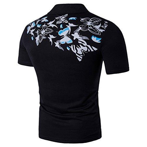 ZhiYuanAN Wilder Drucken Polohemd Revers Des Sommer Neuer Größe Männer T-Shirt Kurzarm Schmetterlings Druck Shirt Polo Schwarz