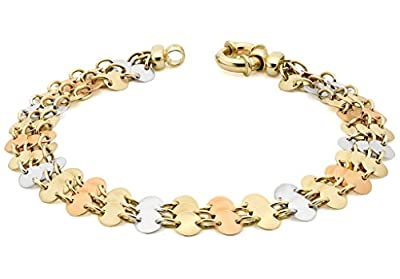 Carissima Gold 9 ct 3 Colour Gold 3 Row Disc Link Bracelet of Length 20 cm/8 inch