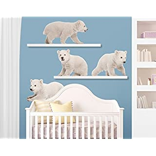 Wall Decal no.642 Polar Bear Brothers 93x70cm, Dimensions:70cm x 93cm