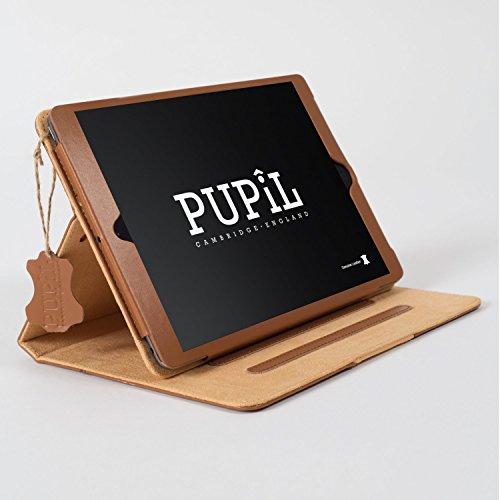 Produktbild iPad Air (1 & 2) Case Hülle. PUPiL of Cambridge,  England. Handgefertigte Aus Echtem Leder Mit Standfunktion Und Voll Kompatibel Mit Der Smart Sleep-Funktion. (Hellbraun - Whisky)