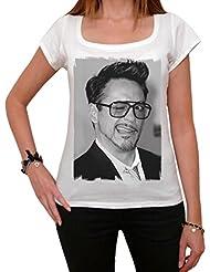 Robert Downey Jr Iron Man, tee shirt femme,Blanc,t shirt femme,cadeau