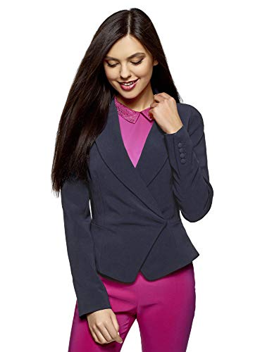 oodji Collection Donna Blazer Aderente con Chiusura Asimmetrica, Blu, IT 42 / EU 38 / S