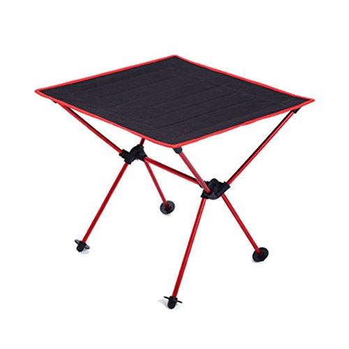 iBaste Ultraleicht Klapptisch Aluminium Campingtisch Klappbar Folding Table Camping Mini Gartentisch 49cmx49cmx46cm für Garten Picknick Buffettisch Grill Angeln im Tasche Tragbar-Rot