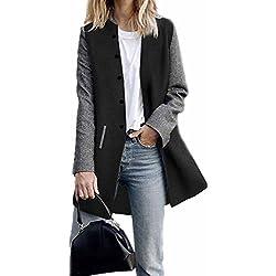 KEERADS Mode Femmes Décontractée Manche Longue Contraste piqûre de Laine Cardigan Bouton Poche Veste Long Manteau Sauteur Tricots(M,Noir)