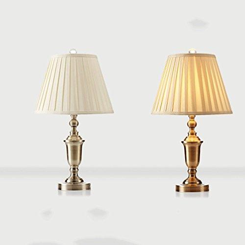 Reine Kupfer-Schreibtischlampe im europäischen Stil, handpoliert, Kristalllampenhut, Handgefaltete Lampenschirm-Tischlampe aus Stoff (größe : Folded brocade) -